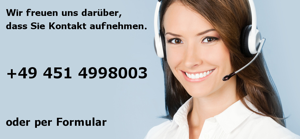 Telefonfrau mit Telefonnummer +49 451 4998003